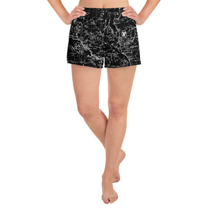 BLACK- Sierra Nevada map womens athletic shorts FRONT | TRVRS Outdoors trail running clothing hiking apparel