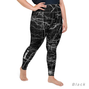Black, Right- San Gabriel Map Women's Leggings (plus size)