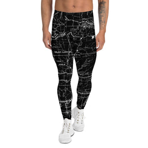 Black - San Gabriel Map Men's Performance Tights | TRVRS Outdoors Hiking Apparel, Trail Running Clothing