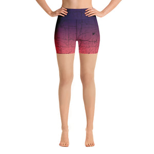 SAN GABRIEL MAP-COSMIC ROMANCE-All Over Print Women's Yoga Shorts | TRVRS Outdoors, Hiking, trail running, mountaineering apparel
