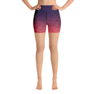 SIERRA MAP-COSMIC ROMANCE-All Over Print Women's Yoga Shorts | TRVRS Outdoors, Hiking, trail running, mountaineering apparel