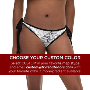 Custom Color, Sierra Nevada Map Reversible Bikini Bottom | TRVRS Outdoors Hiking Apparel, Trail Running Clothing