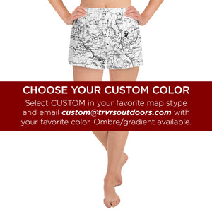 CUSTOM- Sierra Nevada map womens athletic shorts FRONT | TRVRS Outdoors trail running clothing hiking apparel