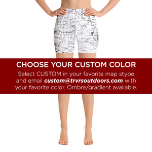 SIERRA MAP-CUSTOM-All Over Print Women's Yoga Shorts | TRVRS Outdoors, Hiking, trail running, mountaineering apparel