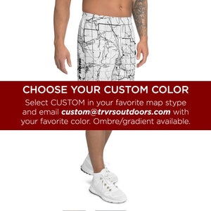 Custom Map Color - All Over Print Men's Athletic Shorts | TRVRS Outdoors, Hiking Apparel, Trail Running Clothing