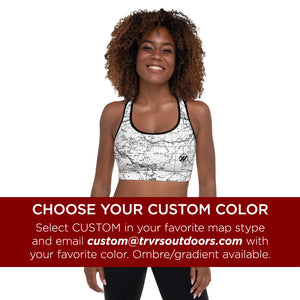 CUSTOM COLOR- Sports Bra Front Mockup | TRVRS Outdoors hiking, trail running clothing, mountaineering apparel