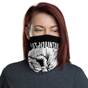 female mockup-Eat Mountains Neck Gaiter | TRVRS Outdoors hiking clothing trail running apparel