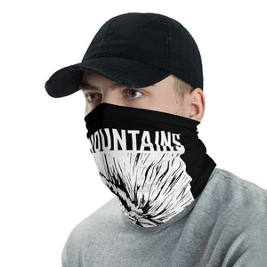 Male Mockup left-Eat Mountains Neck Gaiter | TRVRS Outdoors hiking clothing trail running apparel