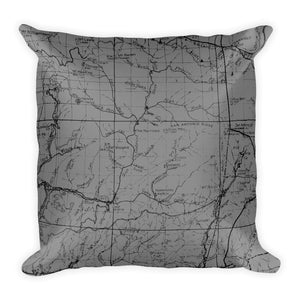 Angeles Forest Map Premium Throw Pillow (18X18) - GREY | TRVRS APPAREL
