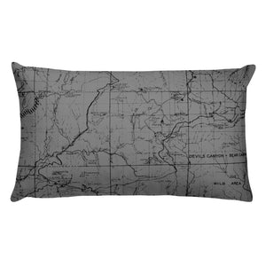 Angeles Forest Map Premium Throw Pillow (20x12) - GREY | TRVRS APPAREL
