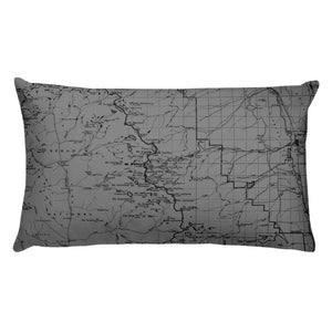 Sierra Nevada Map Premium Throw Pillow (20x12) - GREY | TRVRS APPAREL