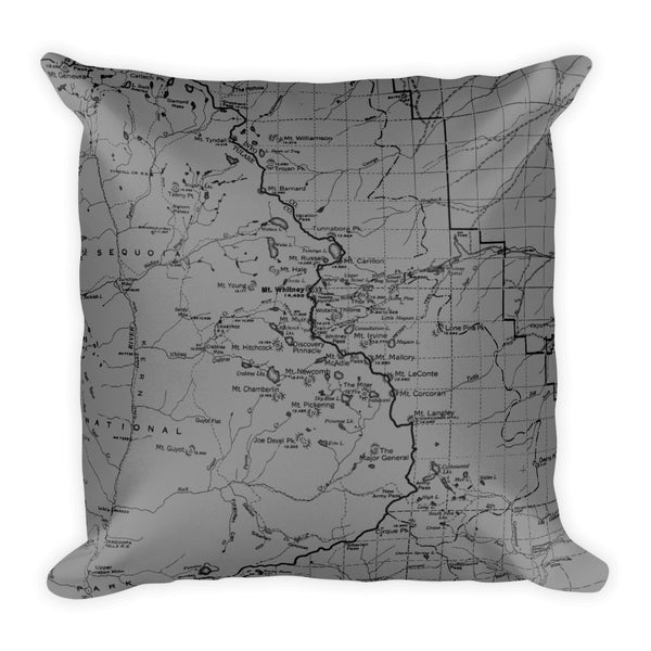 Sierra Nevada Map Premium Throw Pillow (18x18) - GREY | TRVRS APPAREL