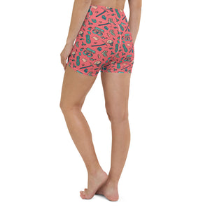 back, HIKER TRASH-All Over Print Women's Yoga Shorts | TRVRS Outdoors, Hiking, trail running, mountaineering apparel