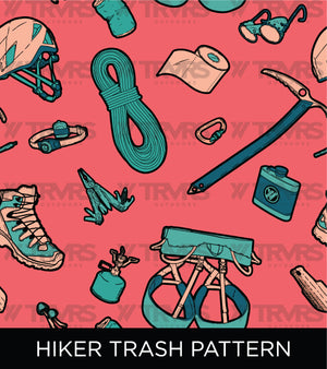 Hiker Trash Pattern-San Gabriel Mountains Map Sports Bra Front Mockup | TRVRS Outdoors hiking, trail running clothing, mountaineering apparel