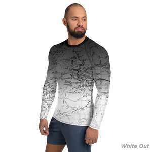 White Out, Sierra Nevada Map - All Over Print Men's Base Layer | TRVRS Outdoors Hiking Apparel, Trail Running Clothing