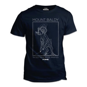 Mount Baldy Big Horn Tee V2 - NAVY | TRVRS Outdoors, hiking apparel, san gabriel mountains, angeles national forest, trail running, mountaineering