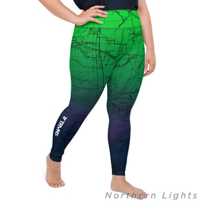Northern Lights, Right- San Gabriel Map Women's Leggings (plus size)