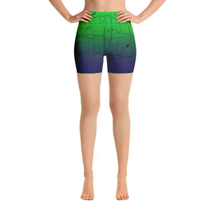 SAN GABRIEL MAP-NORTHERN LIGHTS-All Over Print Women's Yoga Shorts | TRVRS Outdoors, Hiking, trail running, mountaineering apparel