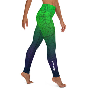 Northern Lights- Sierra Nevada Map All Over Print Women's Leggings | TRVRS Outdoors, Hiking, trail running, mountaineering apparel