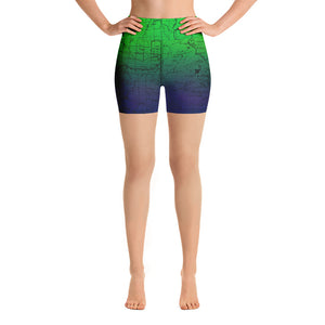 SIERRA MAP-NORTHERN LIGHTS-All Over Print Women's Yoga Shorts | TRVRS Outdoors, Hiking, trail running, mountaineering apparel