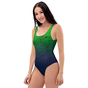 Northern Lights- Sierra Nevada One-Piece Swimsuit | TRVRS Outdoors hiking apparel, trail running clothing