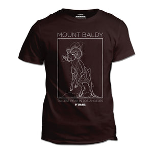 Mount Baldy Big Horn Tee V2 - OXBLOOD BLACK | TRVRS Outdoors, hiking apparel, san gabriel mountains, angeles national forest, trail running, mountaineering