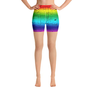 SAN GABRIEL MAP-RAINBOW-All Over Print Women's Yoga Shorts | TRVRS Outdoors, Hiking, trail running, mountaineering apparel