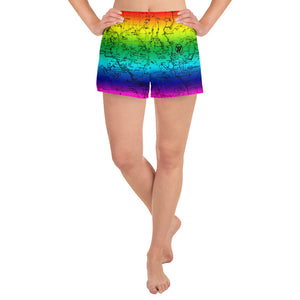 Rainbow- Sierra Nevada map womens athletic shorts FRONT | TRVRS Outdoors trail running clothing hiking apparel