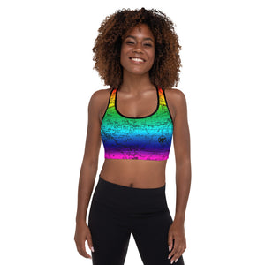 RAINBOW-Sierra Nevada Map Sports Bra Front Mockup | TRVRS Outdoors hiking, trail running clothing, mountaineering apparel