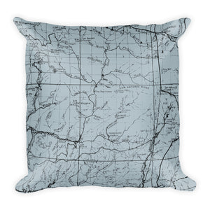 Angeles Forest Map Premium Throw Pillow (18X18) - SMOKE BLUE | TRVRS APPAREL