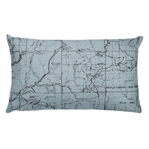 Angeles Forest Map Premium Throw Pillow (20x12) - SMOKE BLUE | TRVRS APPAREL