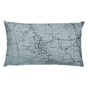 Sierra Nevada Map Premium Throw Pillow (20x12) - SMOKE BLUE | TRVRS APPAREL