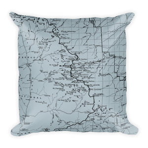 Sierra Nevada Map Premium Throw Pillow (18x18) - SMOKE BLUE | TRVRS APPAREL