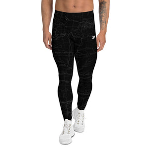 Smoke- San Gabriel Map Men's Performance Tights | TRVRS Outdoors Hiking Apparel, Trail Running Clothing
