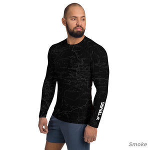 Smoke, Sierra Nevada Map - All Over Print Men's Base Layer | TRVRS Outdoors Hiking Apparel, Trail Running Clothing