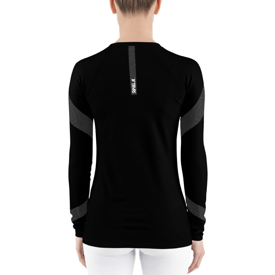 BLACK, FRONT - Topo Map Women's Base Layer | TRVRS Outdoors