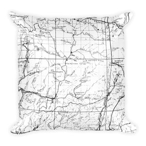 Angeles Forest Map Premium Throw Pillow (18X18) - WHITE | TRVRS APPAREL