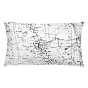 Sierra Nevada Map Premium Throw Pillow (20x12) - WHITE | TRVRS APPAREL