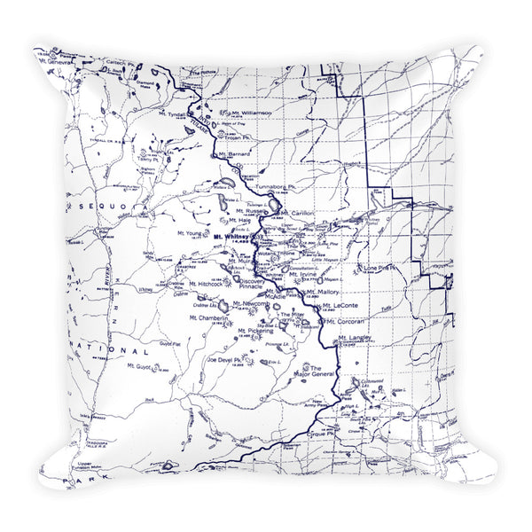 Sierra Nevada Map Premium Throw Pillow (18x18) - WHITE | TRVRS APPAREL