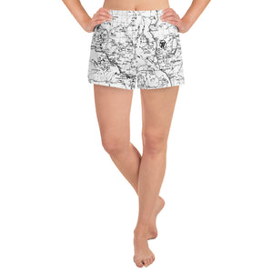 WHITE- Sierra Nevada map womens athletic shorts FRONT | TRVRS Outdoors trail running clothing hiking apparel