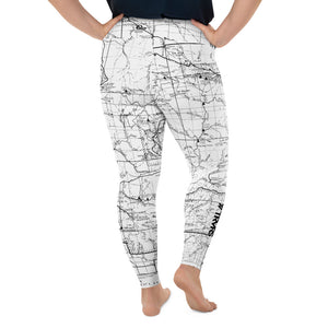 White, Back- San Gabriel Map Women's Leggings (plus size)