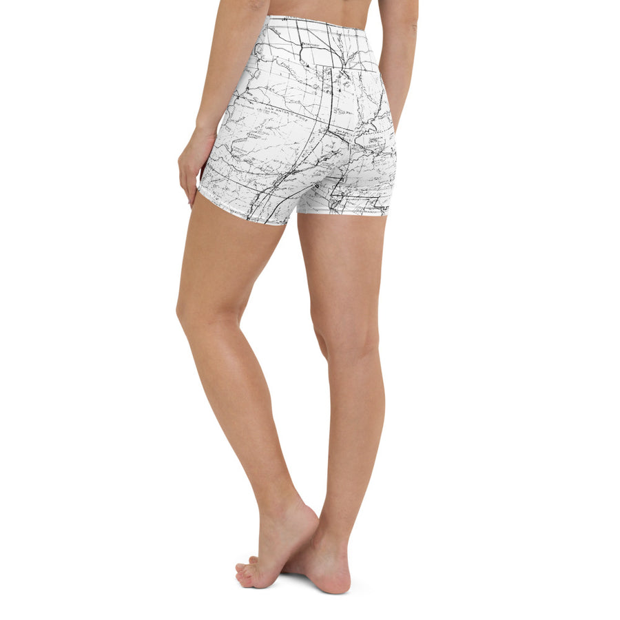 SAN GABRIEL MAP-WHITE-All Over Print Women's Yoga Shorts | TRVRS Outdoors, Hiking, trail running, mountaineering apparel