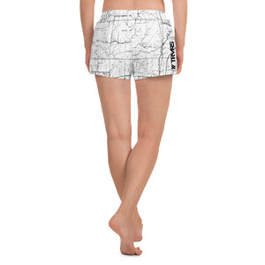 White, back - Sierra Nevada map womens athletic shorts FRONT | TRVRS Outdoors trail running clothing hiking apparel