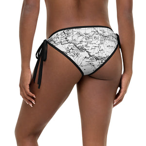 White (back), Sierra Nevada Map Reversible Bikini Bottom | TRVRS Outdoors Hiking Apparel, Trail Running Clothing