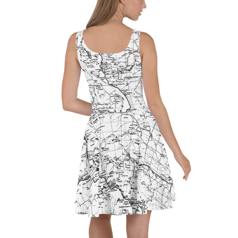White, Sierra Nevada Map Hiking Dress | TRVRS Outdoors Hiking Apparel, Trail Running Clothing