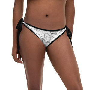 White, San Gabriel Map Reversible Bikini Bottom | TRVRS Outdoors Hiking Apparel, Trail Running Clothing