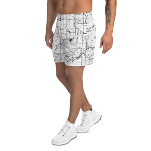 White, San Gabriel Mountain Map - All Over Print Men's Athletic Shorts | TRVRS Outdoors, Hiking Apparel, Trail Running Clothing