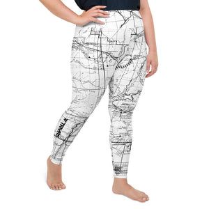 White, Right- San Gabriel Map Women's Leggings (plus size)