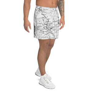 White, Sierra Nevada Map - All Over Print Men's Athletic Shorts | TRVRS Outdoors, Hiking Apparel, Trail Running Clothing