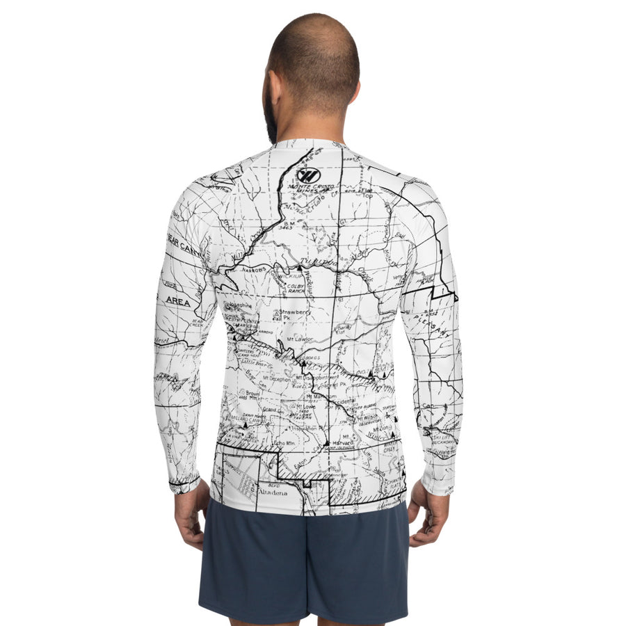 White, San Gabriel Map - All Over Print Men's Base Layer | TRVRS Outdoors Hiking Apparel, Trail Running Clothing
